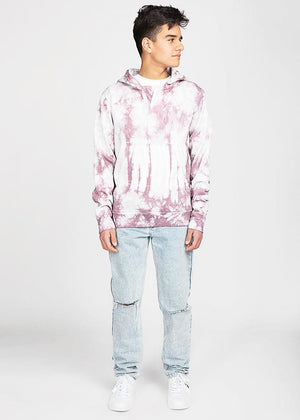 Boys Burgundy Tie-Dye Open-Neck Hoodie-TeenzShop