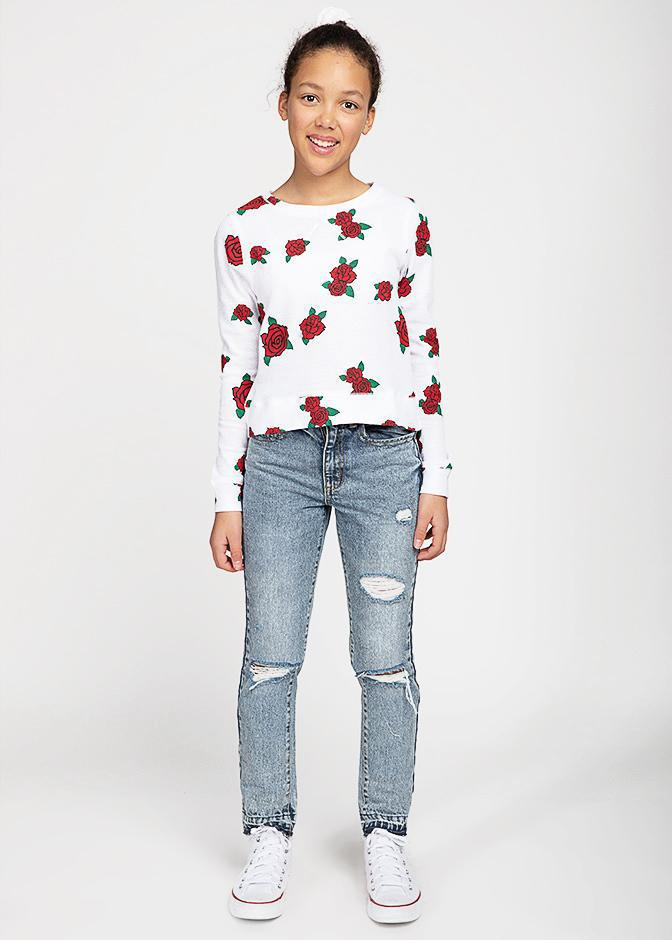 Girls Long Sleeve Roses Waffle Top-TeenzShop