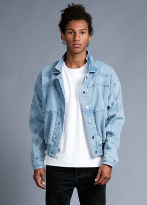 Boys Denim 80's Elasticated Bomber Jacket-TeenzShop