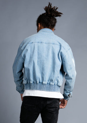 Teenzshop Youth Boys Denim 80's Elasticated Bomber Jacket