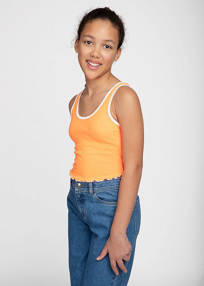 Girls Neon Orange Ribbed Tank Top-TeenzShop