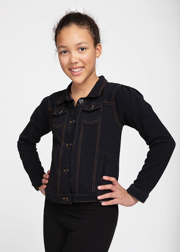 Girls Black Faux Denim Knit Jacket-TeenzShop