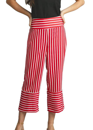 Girls Red White Wide Leg Striped Trousers-TeenzShop
