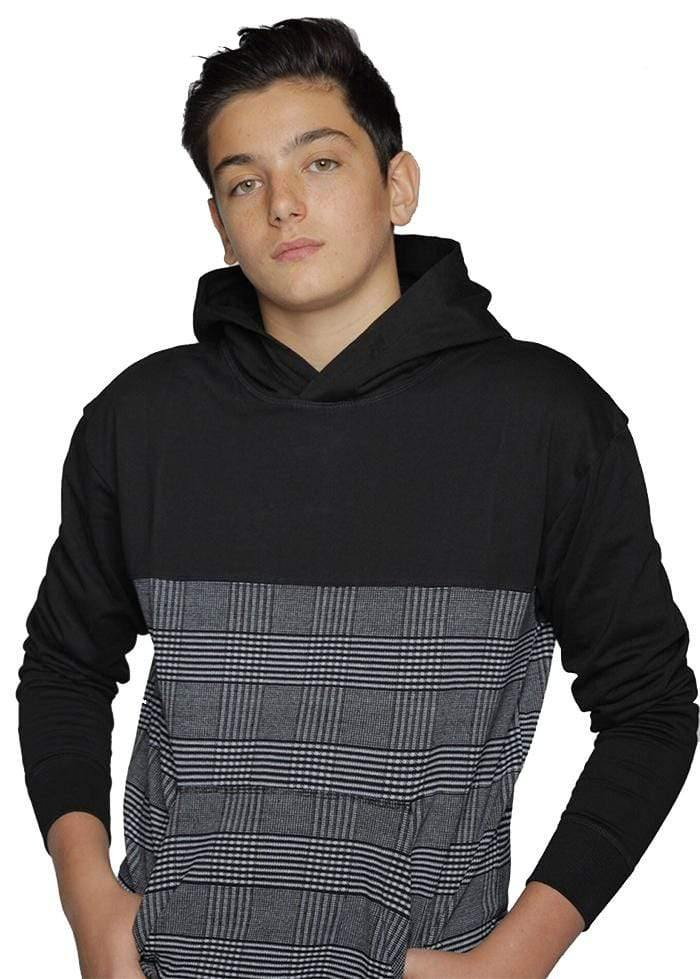 Youth Boys Black Checker Hoodie
