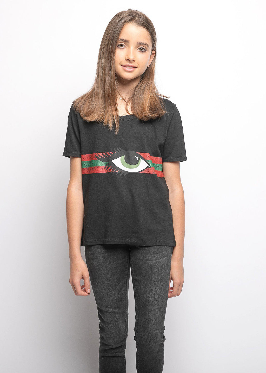 Youth Girls Black Eye Graphic T-shirt