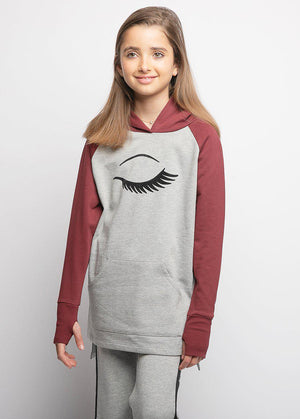 Youth Girls Light Grey Longline Wink Hoodie