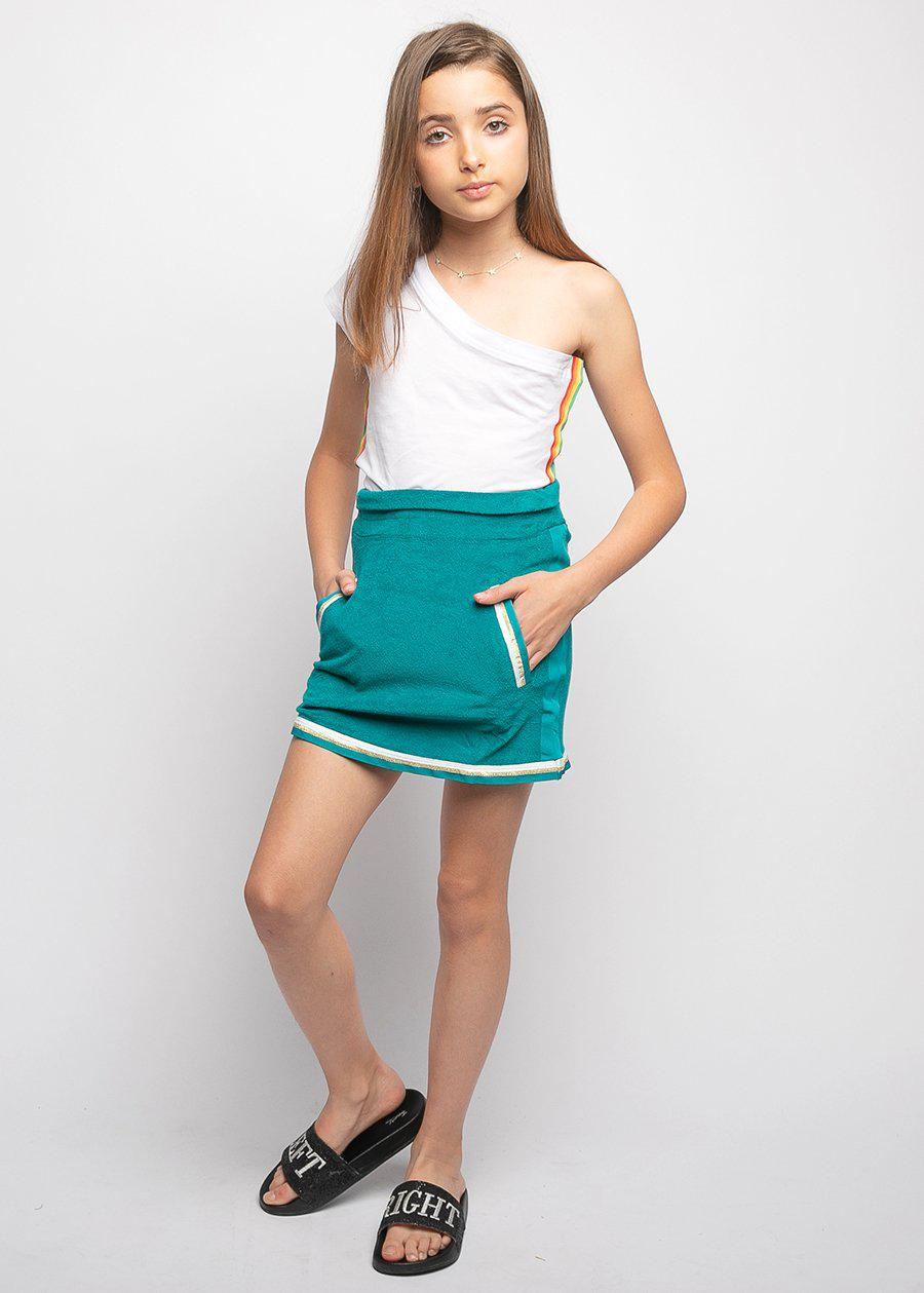 Girls Teal Retro Terry Skirt