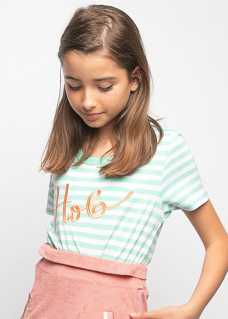 Youth Girls Green & White Stripe Holiday T-shirt