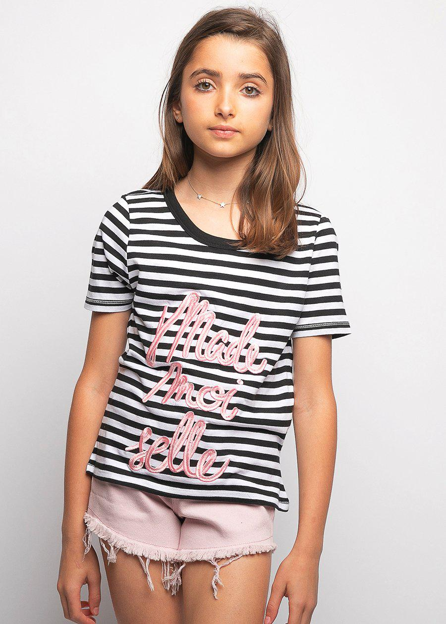 Youth Girls Black & White Stripe Holiday T-shirt