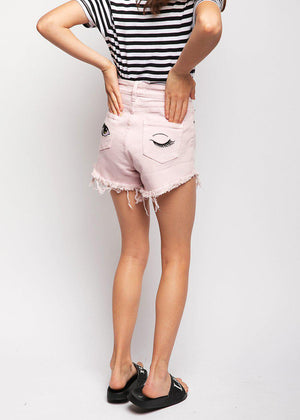 Youth Girls Pink Stretch Denim Shorts With Embroidered Eyes
