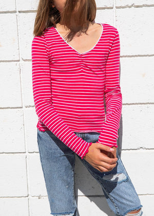 TeenzShop Youth Girls Pink Stripe Elastic Long Sleeve Ballet Top - SUSTAINABLE FABRIC