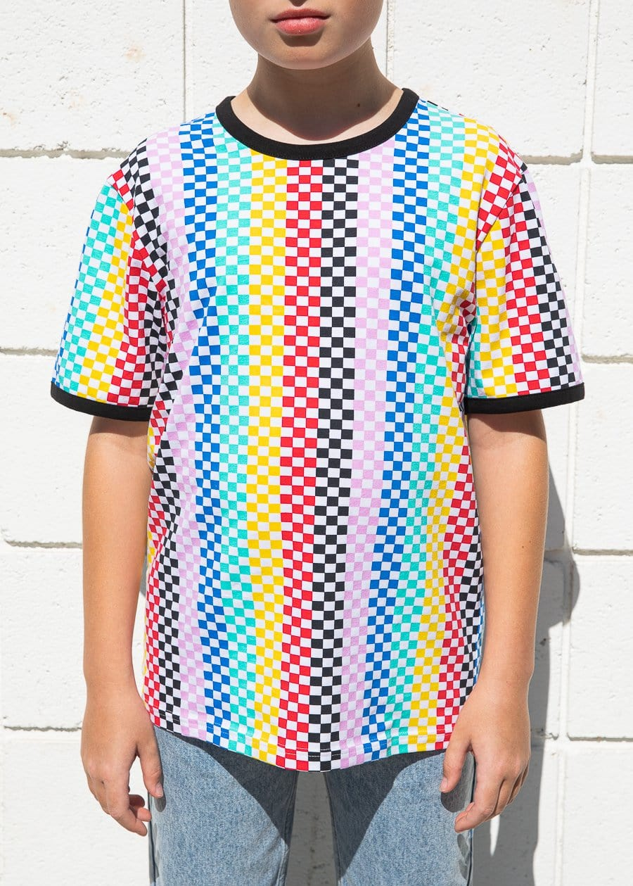 Youth Boys Multi Colour Checkered T-Shirt