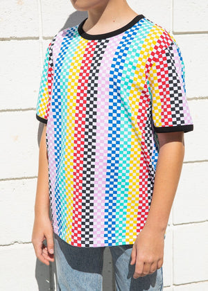 TeenzShop Youth Boys Short Sleeve Multi Colour Checkered T-Shirt - SUSTAINABLE FABRIC