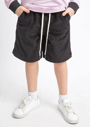 Boys Black Corduroy Rib Shorts-TeenzShop