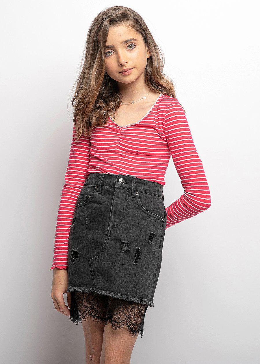 Girls Denim and Lace Mini-Skirt