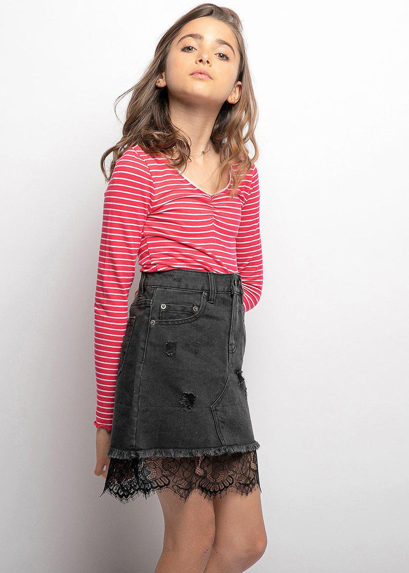 Youth Girls Denim and Lace Mini-Skirt