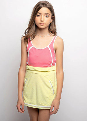 Girls Yellow Retro Terry Skirt