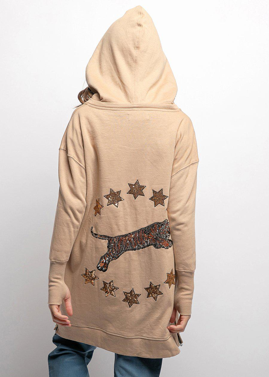Girls Stars And Tiger Oversized Hoodie