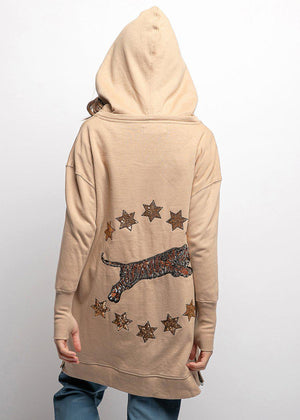 Youth Girls Gold Stars And Tiger Embellished Hoodie