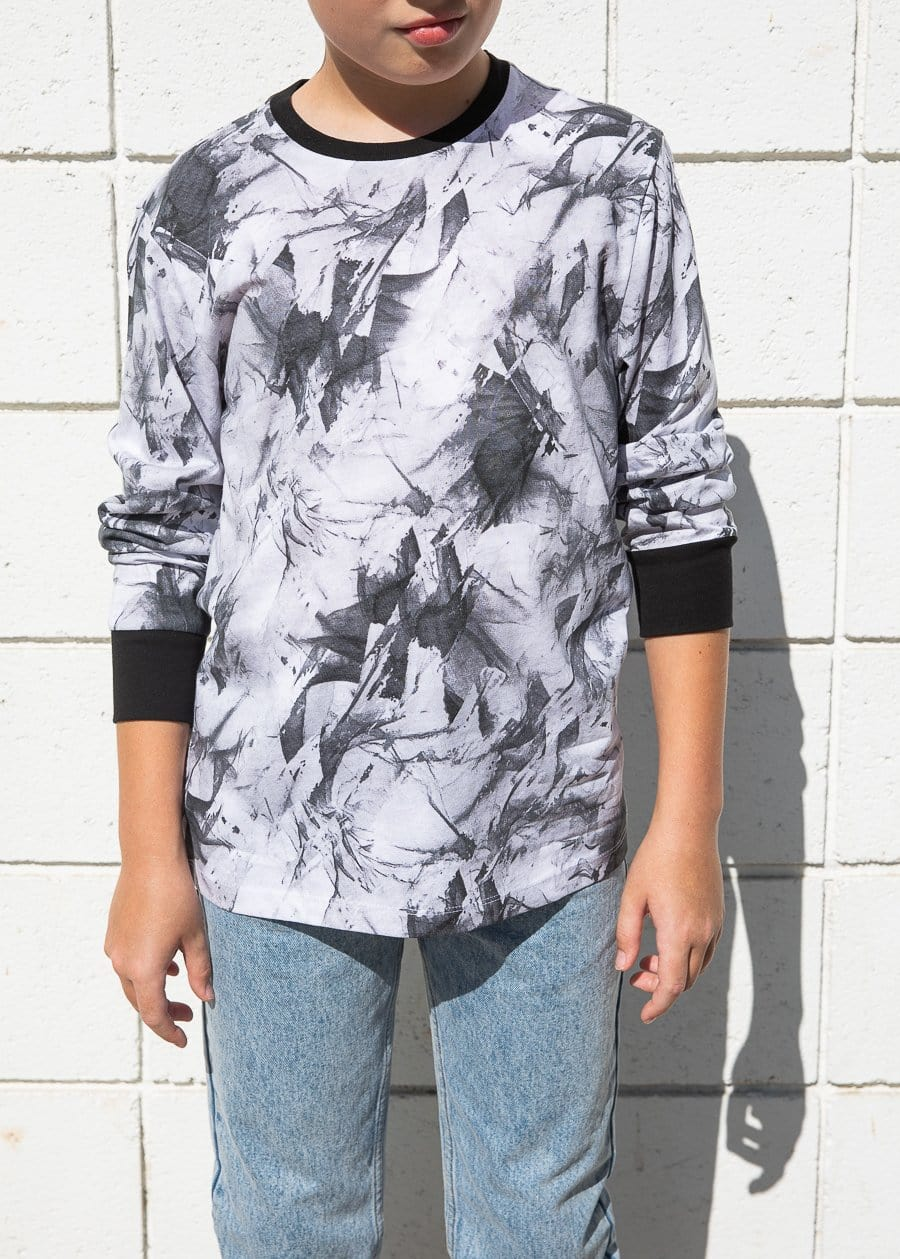 TeenzShop Youth Boys Paint Splatter Long Sleeve T-shirt - SUSTAINABLE FABRIC
