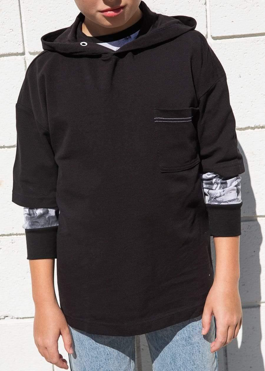 Youth Boys Black Short Sleeve Lightweight Hoodie