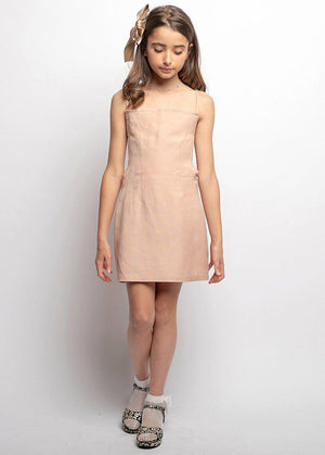 Youth Girls Pink 80's Tie Back Dress-SUSTAINABLE FABRIC