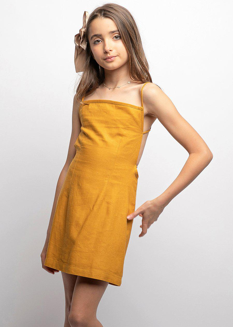 Youth Girls 80's Gold Tie Back Dress-SUSTAINABLE FABRIC