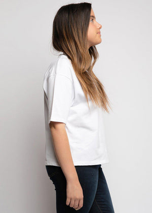 Youth Girls White Forever & Ever High-Neck T - SUSTAINABLE FABRIC
