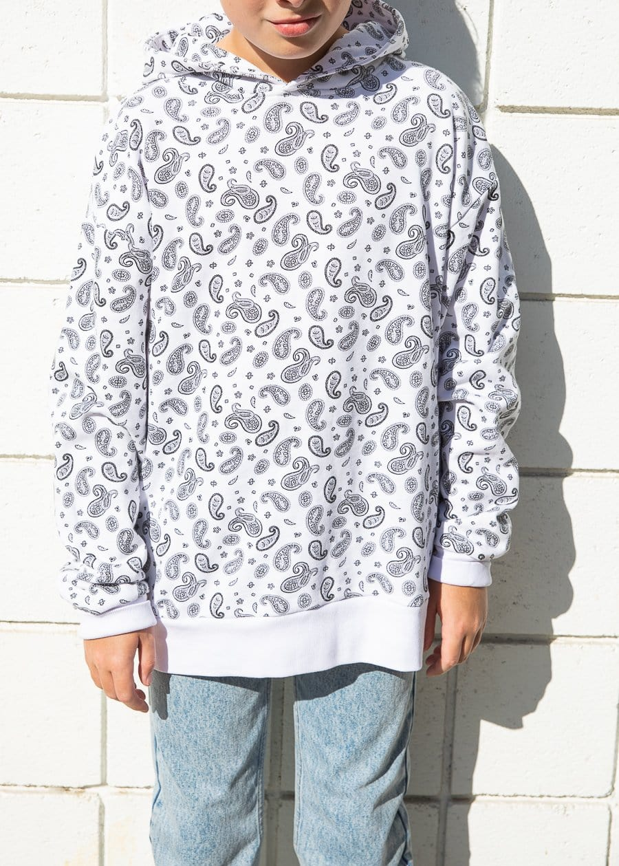 Youth Boys White Soft Cotton Paisley Print Hoodie