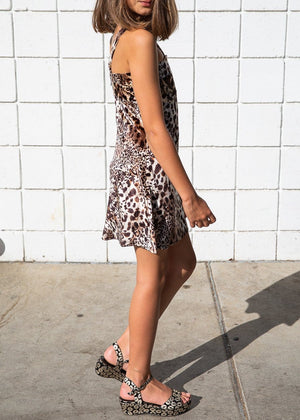 TeenzShop Youth Girls Leopard Print Velvet Mini Dress - SUSTAINABLE FABRIC
