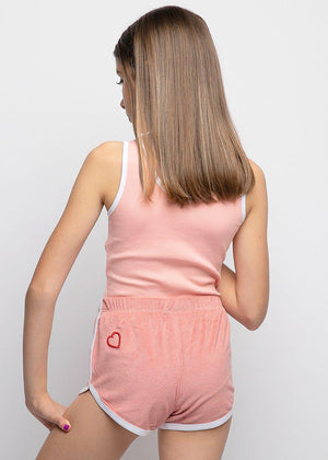 Salmon Pink Velour Runner Shorts