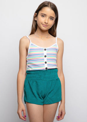 Youth Girls Teal Terry Shorts