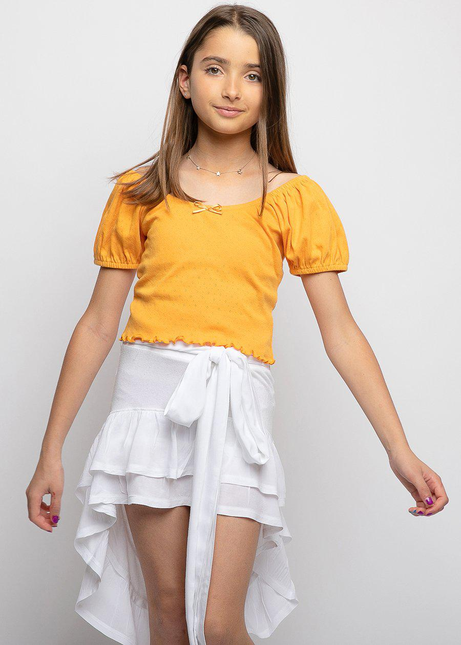 Orange Pointelle Puff Sleeve Top