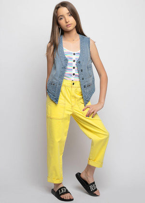 Yellow Contrast Stitch Skater Trouser
