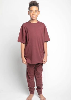 Boys Burgundy Barcode Pyjama Lounge Set