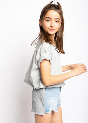 Youth Girls Denim and Fleece Shorts