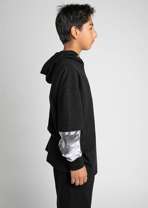 Youth Boys Black Short Sleeve Lightweight Hoodie - SUSTAINABLE FABRIC