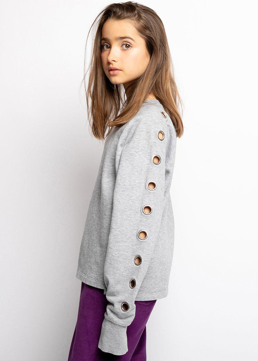 Youth Girls Grey Sweatshirt With Eyelets