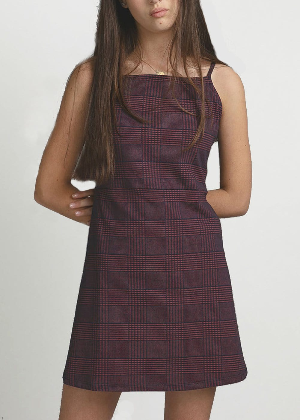 Youth Girls Burgundy Clueless Dress Model Front