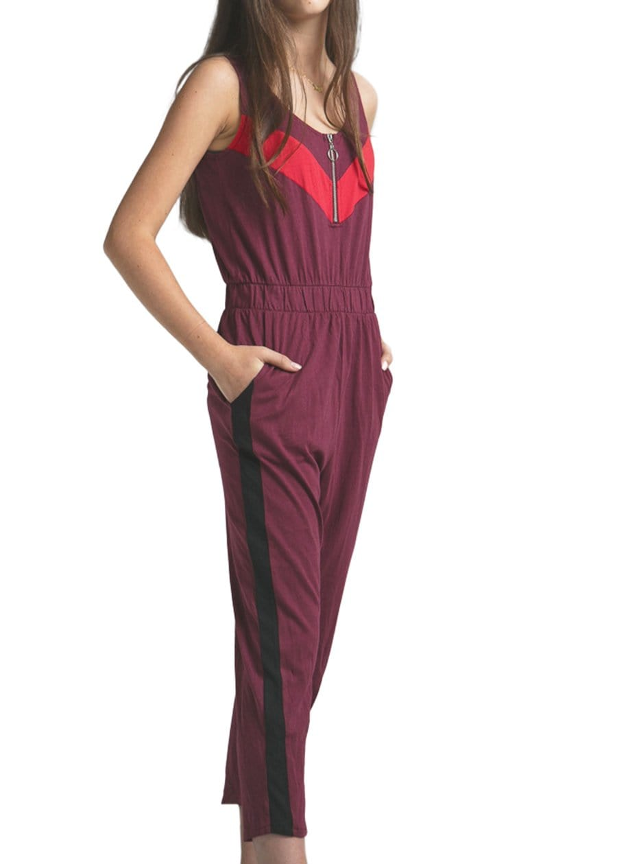 Youth Girls Burgundy Retro Track Jumpsuit