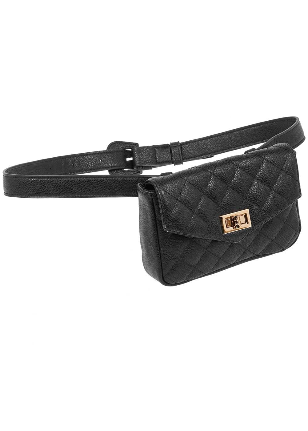 Girls Black Bum Bag-Front