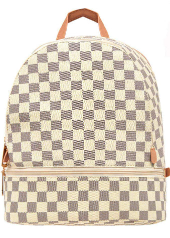 Girls Cream Small Checker Backpack - Front