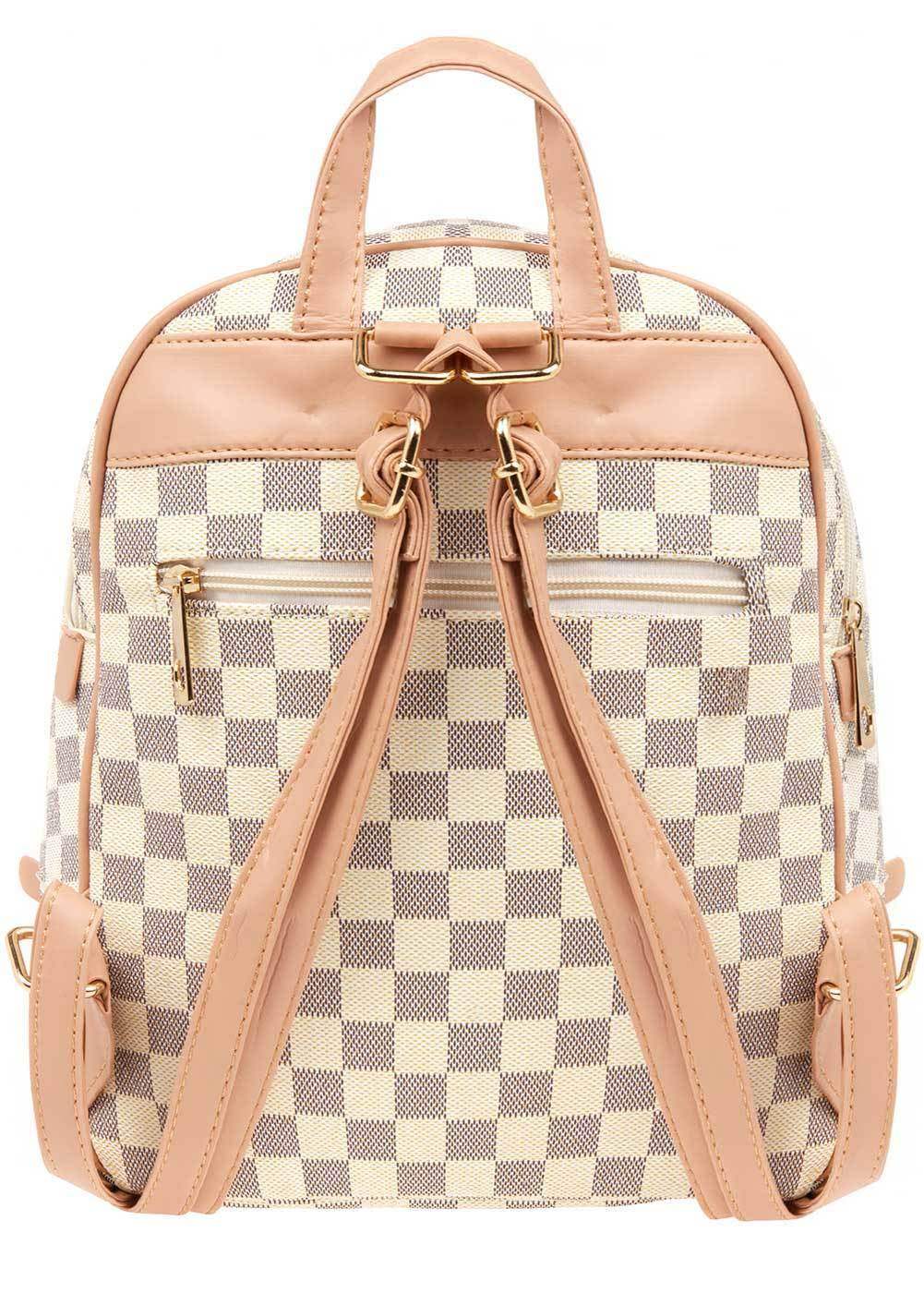 Teenzshop Girls Cream Small Checker Backpack-Back