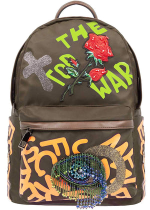 Girls Army Green Graffiti Backpack-Front