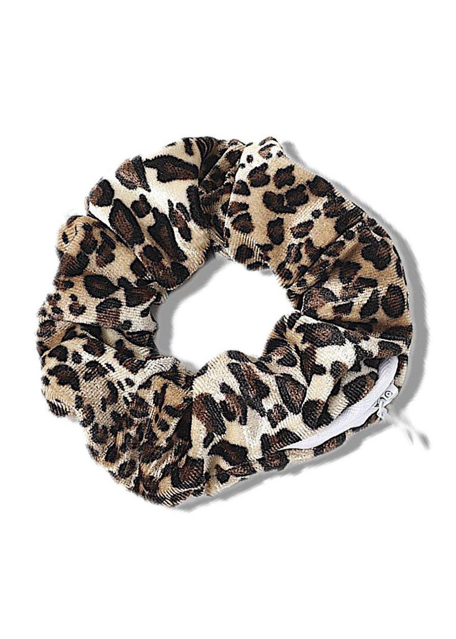 Leopard velour Scrunchie with Secret Pocket