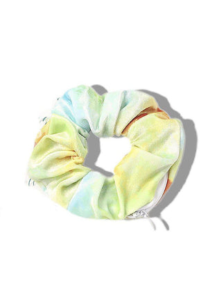 Yellow and Blue Tie Dye Scrunchie with secret pocket