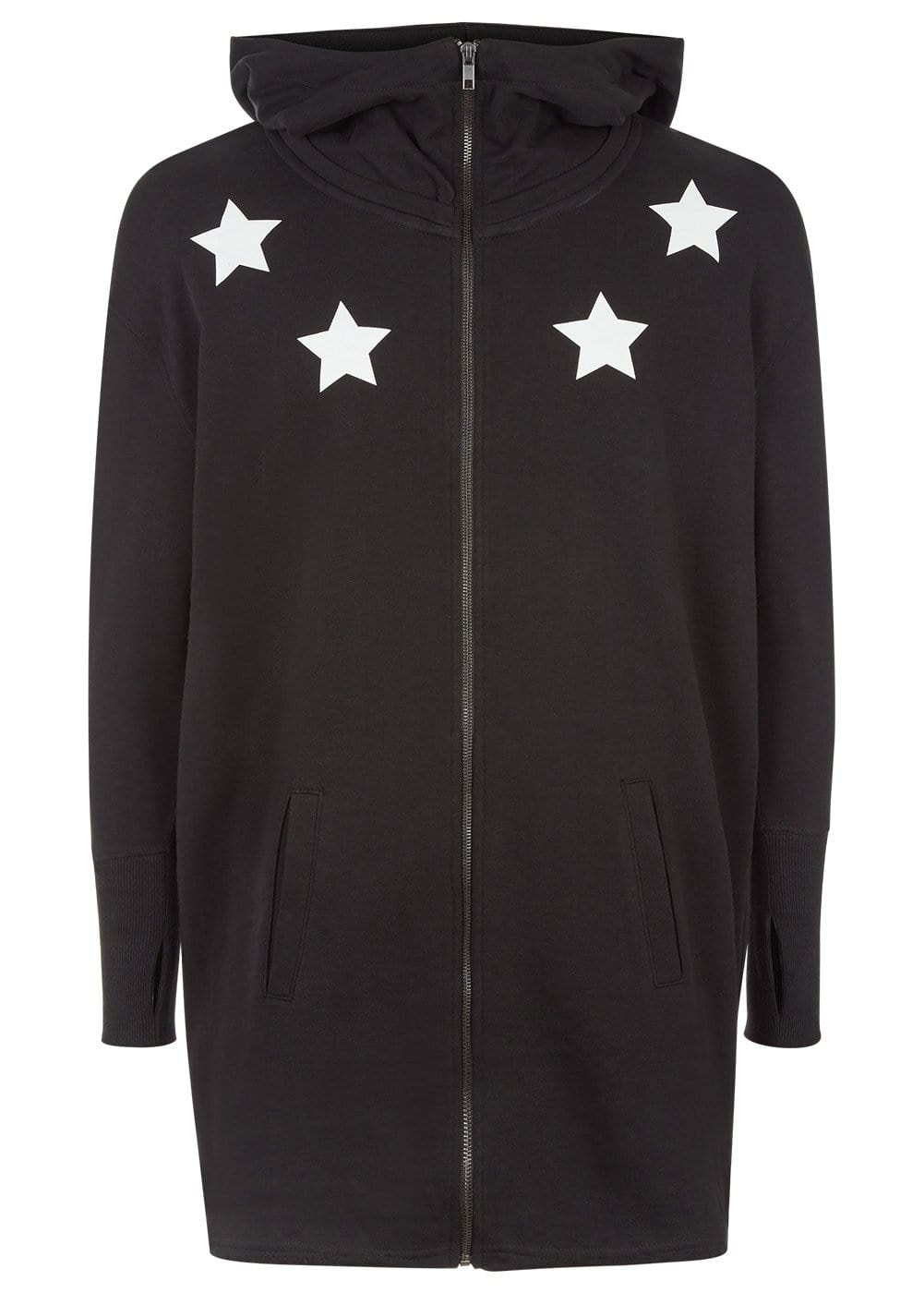 Boys Black Longline Hoodie with Stars - Front