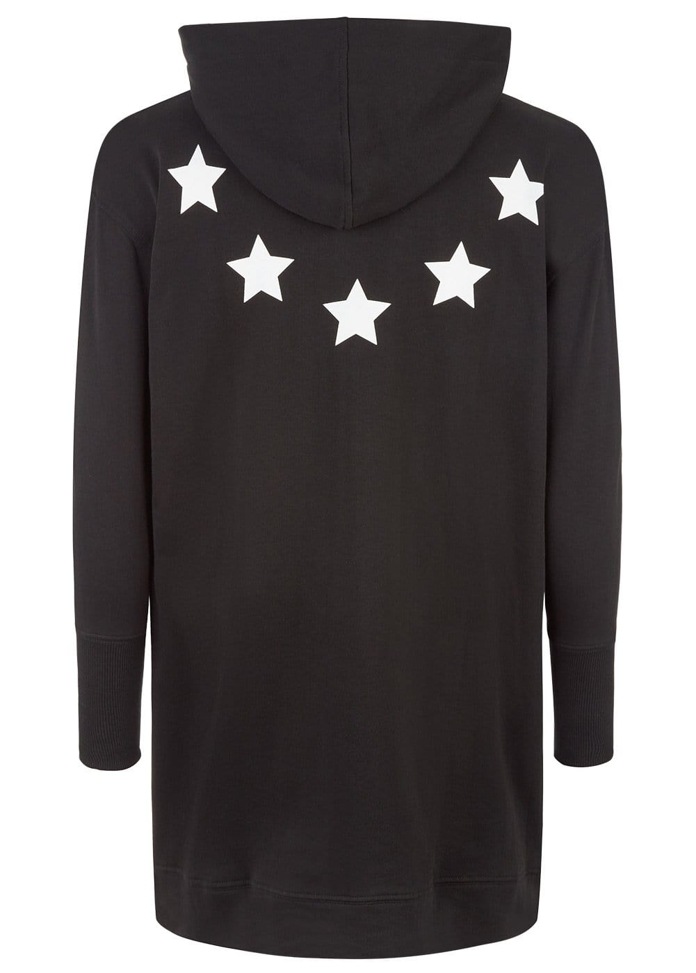 Boys Black Longline Hoodie with Stars-Back