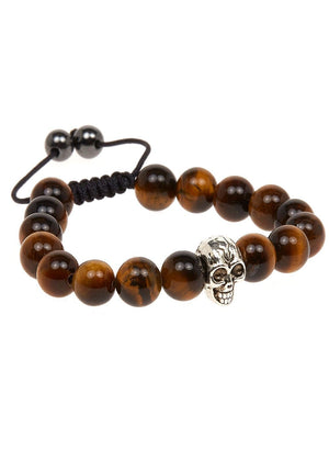 Boys Tiger Eye Skull Bracelet