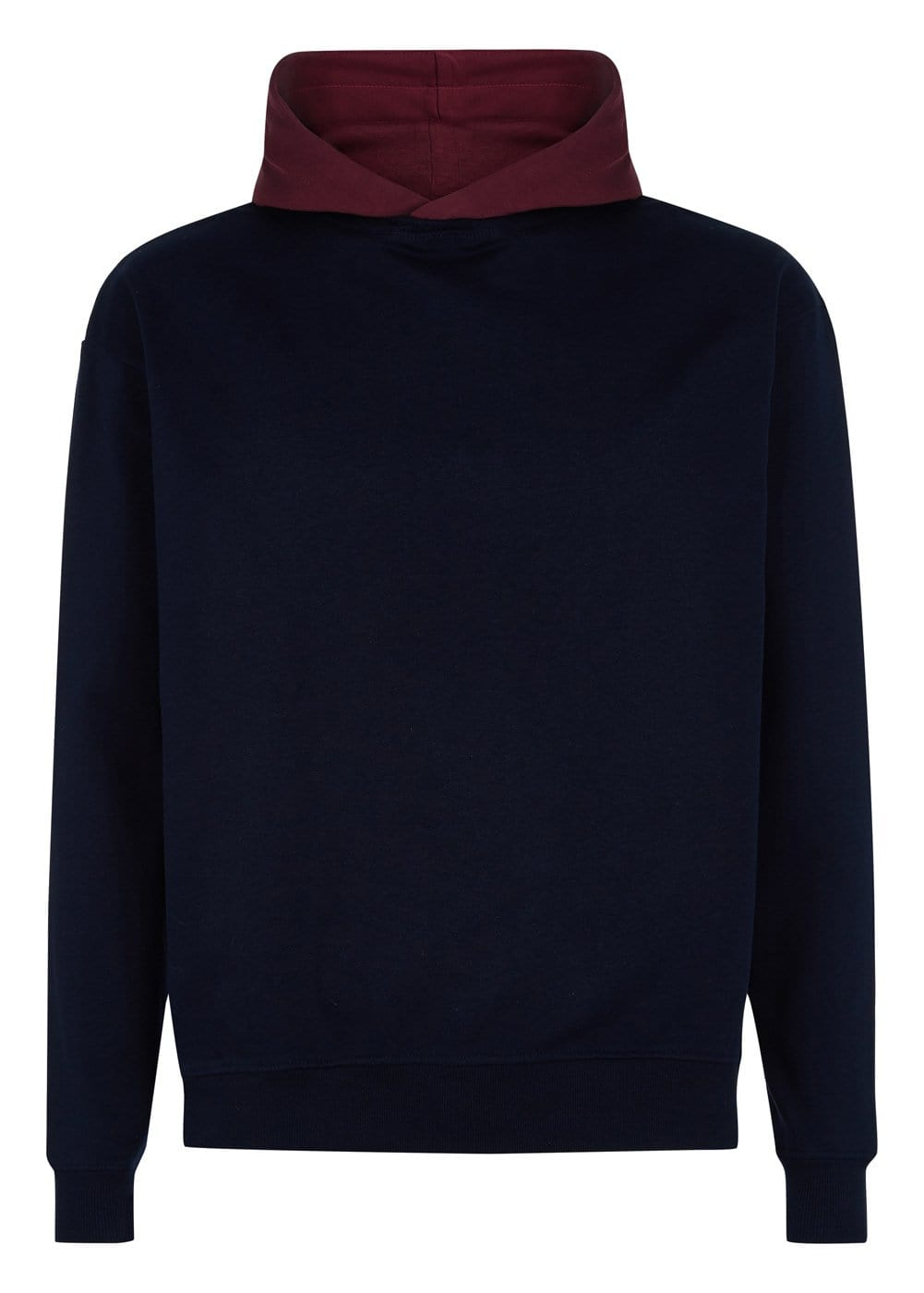 Boys Navy Burgundy Nathaniel Hoodie - Front